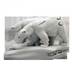 ZSOLNAY 8405/8530 jegesmedve platina díszítéssel