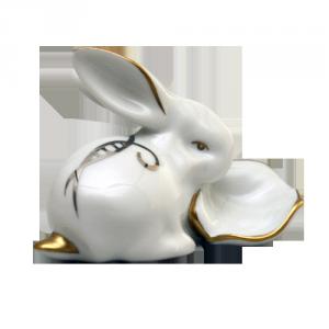 ZSOLNAY 9473/8530 Káposztás nyúl platina díszítéssel